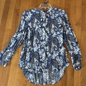 Lucky brand paisley button up size xs